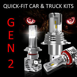 2x LED Headlight Conversion Kits - H7 - 4x Lights - 100% Brighter 50000hr Life