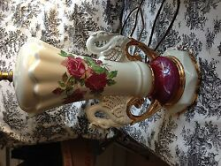 Vintage 1940and039s China Lamp Ruby Roses Swan Handles Gold Accents Signed Worrall