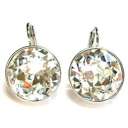 Large Round Bella Women Crystal Earrings Made With Andreg Crystals