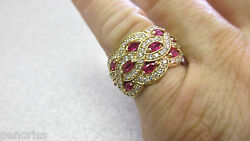 Beautiful Ruby And Diamond Ring Band Highest Quality 14k Size 7-1/2 Make Offer