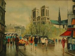 Original European Style Oil Painting Cityscape W Flower Cart Cars People Signed
