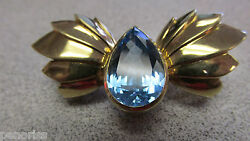 Incredible 18k Gold And Blue Topaz Clasp 25 Grams For Multiple Strand Necklace 18k