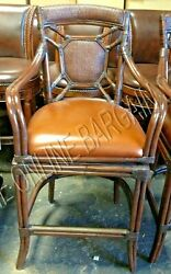 Frontgate Cayman Rattan Back Leather Bar 30 Seat Height Stool Counter Kitchen