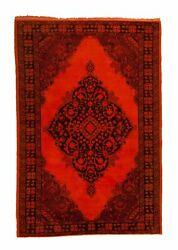 Overdyed Semi Antique Orange Rug Persian 4 Ft. 7 In. X 6 Ft. 10 In.