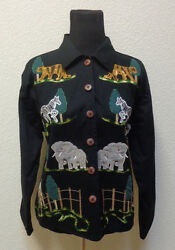 Cute Womens Black Cotton Jacket By Life Style Animal Embroidery Size Xl 16/18