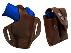 NEW Barsony Brown Leather Pancake Holster+Dbl Mag Pouch Kel-Tec Comp 9mm 40