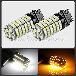 3157 Dual Color Switchback WhiteAmber LED Turn Signal Corner Light Bulbs 6L