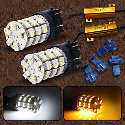 3157 Dual Color Switchback WhiteAmber LED Turn Signal Light Bulbs + Resistor 4L