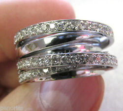 Beautiful 18k White Gold Custom Made Diamond Band Ring size 7    Make Offer