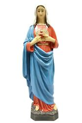 25 Inch Immaculate Heart Of Mary Virgin Mary Statue Figurine Vittoria Made Italy