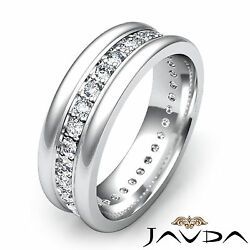 Pave Round Diamond Solid Ring 18k White Gold Mens Eternity Wedding Band 0.60ct