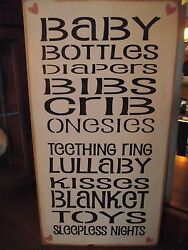 Baby, Bottles, Diapers, Kisses, Toys, Sleepless Nights Primitive Wood Sign