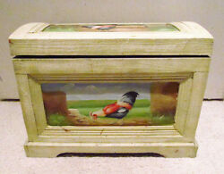 Hand Painted Antiqued Finish Barnyard Rooster Chicken Wood Hinged Box Chest