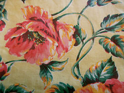 Antique Vintage 40#x27;s Poppy Floral Fabric #1 Pink Tangerine Yellow Pillows Totes