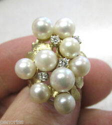 Beautiful Estate Heirloom Pearl And Diamond Ring 14k Gold Size 6-1/2 Make Offer