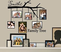 Family Tree with Picture Frames: Custom Name Wall or Window Decal
