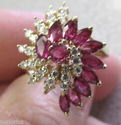 High Quality 14k Gold Ruby And Diamond Cocktail Ring Size 10  Make Offer