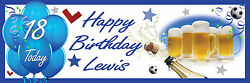 Birthday Celebration Beer 18th Banner Poster Large Any Age Text Personalisation
