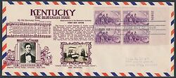 904 Plate Blk/4 On Crosby Fdc Cachet Kentucky The Blue Grass State Br2620
