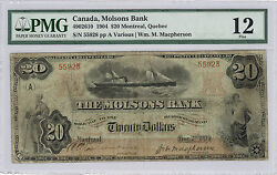 1904 20 Molsons Bank Note - Montreal Canada Graded Fine-12 By Pmg