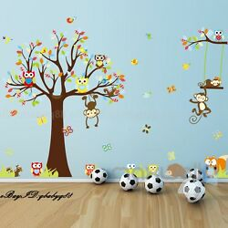 Cute Animals Monkey Owl Tree Removable Kids Wall Sticker Decal Nursery Decor