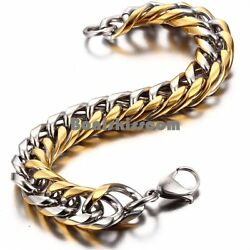Stainless Steel Gold and Silver Tone Cuban Link Chain Men#x27;s Bracelet 8.6 Inches $9.99