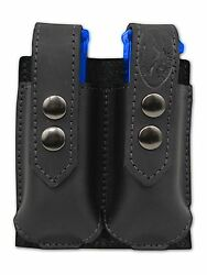 New Barsony Black Leather Double Magazine Pouch Springfield Compact 9mm 40 45