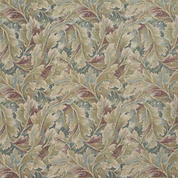 D569 Burgundy And Green Floral Leaf Tapestry Upholstery Fabric By The Yard