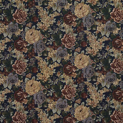 F923 Blue Green And Red Floral Bouquet Tapestry Upholstery Fabric By The Yard