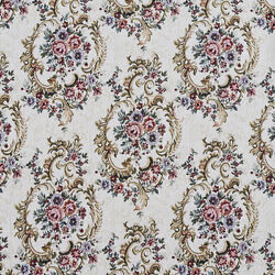 F641 Burgundy Green And Blue Floral Tapestry Upholstery Fabric By The Yard