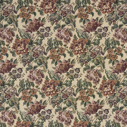 F673 Burgundy Green And Orange Floral Tapestry Upholstery Fabric By The Yard