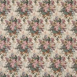 H120 Pink Green Burgundy Floral Bouquet Tapestry Upholstery Fabric By The Yard