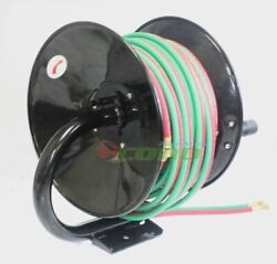 Manual 100ft Twin Oxy Acetylene Welding Hose Reel Mount 300psi 100and039 Weld Hoses