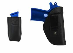 New Barsony Black Leather IWB Holster + Mag Pouch Ruger Kel-Tec Mini 22 25 380