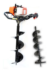 2.3 Hp 52cc One Man Gas Post Hole Digger Earth Driller W/2 Auger Bits 10 And 6