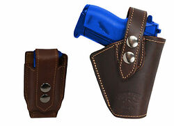 Barsony OWB Brown Leather Belt Holster wMag Pouch Ruger Kel-Tec Mini 22 25 380