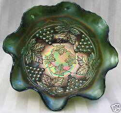 Fenton Grape And Cable 8 Bowl Green Carnival Glass Spatula Footed