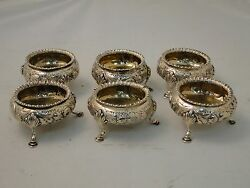 Sterling Silver Salts Set Of 6 Chased And Engraved Fully Marked London 1858
