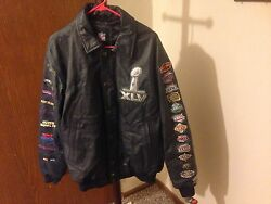 Men's Navy Nfl Super Bowl 45-year Anniversary Leather Coat Size L