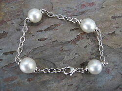14k White Gold Open Link Chain And Paspaley South Sea Pearl Bracelet Special Order