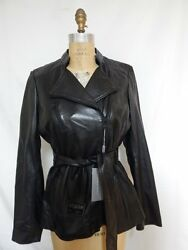 Andrew Marc Leather Trapper Belted Asymmetrical Zip Front Jacket L Black Nwt
