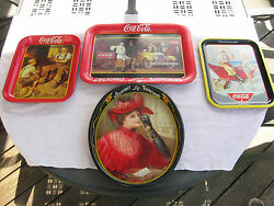 Vintage Lot Of 4 Coca Cola 1987 Reproduction Advertisement Metal Serving Trays
