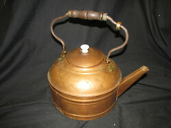 Large 9.25 Vintage Copper Tea Kettle With Wood Handle And Lid Signed Rome