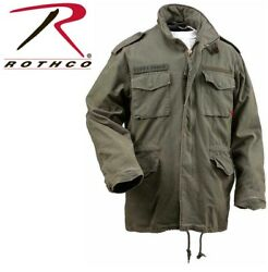 Olive Drab Vintage M-65 Military Field Jacket Army M65 Coat Rothco 8603