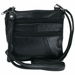 PURSE Cross Body Black Solid Genuine Leather Handbag Womens Shoulder Strap Bag $12.79