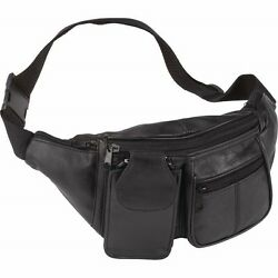 FANNY PACK Black Leather Waist Belt Bag Mens Womens Hip Travel Carry On Pouch $13.99