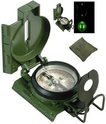 Olive Drab Green Official Us Military Issue Tritium Lensatic Compass W/ Case 417