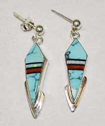 Native American Sterling Silver .925 Turquoise, Opal, Onyx, And Coral Earrings