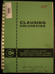 Clausing 15,colchester Instructions And Parts Lists Manual