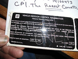 Cpi Smog Sticker 1985 The Rarest Corvette Sticker On Earth 14100973